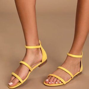 Quin Mustard Yellow Suede Flat Sandals- Lulu's 8.5